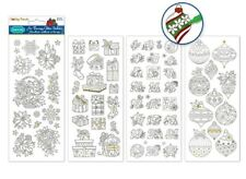 Paper Craft Stickers Scrapbooking Color Me 4 Pack Lot Poinsettia Gifts Ornament