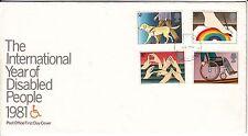 LETTRE FDC ROYAUME UNI SERIE TIMBRE 976 A 979 PERSONNES HANDICAPEES 1981