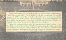 LOS ANGELES CALIFORNIA OLYMPICS SPORTS NEWSPAPER ADVERTISING POSTCARD 1932