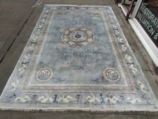 Vintage Hand Made Art Deco Chinese Oriental Light Blue Silk Carpet Rug 275x183cm
