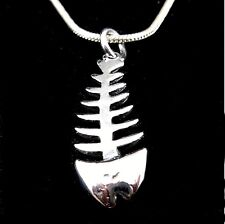 Handcrafted Solid 925 Sterling Silver FISH BONE Skeleton Charm/Pendant