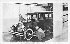 Atlanta GA Ivy Street Garage Car Wash Rack Black Men Washing Cars Rare Postcard