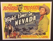 NIGHTTIME IN NEVADA Western Flim LOBBY CARD 1996 Reprint ROY ROGERS & TRIGGER