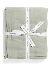 IBENA Organic Cotton Luxury Blanket Asphalt Grey Gray light  / Day  QUEEN nwt
