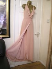 10 TALL JARLO PINK MAXI DRESS PLUNGE RUFFLE WRAP BACKLESS WEDDING BRIDESMAID