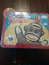 Sock Monkey brand new tin lunch box container