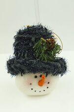 Vintage Felt Knit Blue, White Snowman Christmas Ornament Holiday Tree Decoration