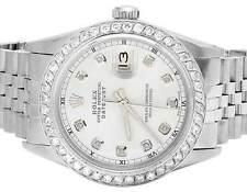 Mens Rolex Datejust Quickset 16014 Oyster 36MM MOP Dial Diamond Watch 3.0 Ct