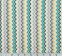 Cream Yellow Teal Gray Zig Zag Chevron Cotton Quilting Fabric BTY