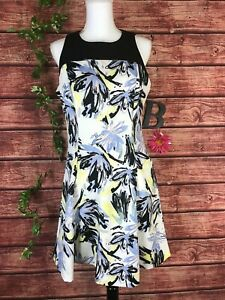 Chaps Dress size 12 Black Yellow Floral Tropical Stretch Knee Wedding Cruise