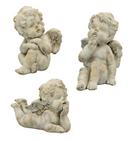 Engel Skulptur creme Zement Haus Garten Shabby Nostalgie Brocante Deko 3 Modelle