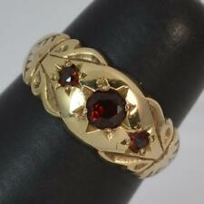 Victorian Design Garnet Trilogy 9ct Gold Ladies Ring F0160