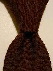 """BOGGI Men's 100% Wool XL 62 3/4"""" Necktie Luxury Designer SOLID Brown GUC Rare"""