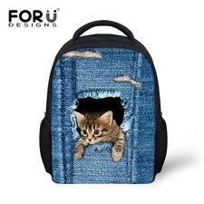 "12"" Cool Cat School Backpack Kindergarten Bookbag Satchel Baby Mochilas Infantil"