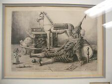 Armond Queyroy 1865 Print Les Etrennes du Bebe Colored Etching Signed Framed