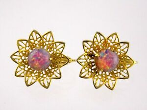 Vintage Goldtone Metal Filigree Dragons Breath Glass Clip on Earrings Unsigned