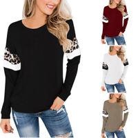 Womens Leopard Patchwork Long Sleeve Casual Top Sweatshirt Blouse Shirt
