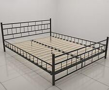 Extra Large Metal Black Bedframe Wooden Slats Modern Iron Bed Bedstead 6ft Size