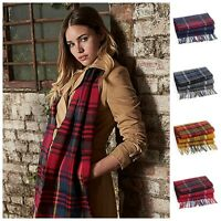Mens Womens Ladies Check Stripe Plaid Tassel Autumn Winter Soft Neck Warm Scarf