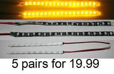 5 pair AMBER BRIGHT 6 inch 18 LED NON Waterproof Flexible Light Strip BLACK pcb