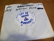 Vintage Ford Dealer Warranty & Service Vinyl Record walker ford 1974