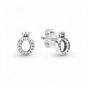Authentic Pandora Polished O Crown  Stud Logo Earrings 298295