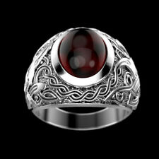 Fine Jewelry 14 Kt Solid White Gold Natural Ruby Men'S Vintage Ring Size 9,10,11