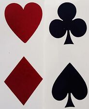 "8 Card Suit Symbols Heart Spade Club Diamond 1-1/4"" Waterslide Ceramic Decals Bx"
