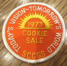 Girl Scouts Vintage Uniform Patch 1973 Vision Tomorrow'S World Today Cookie Sale