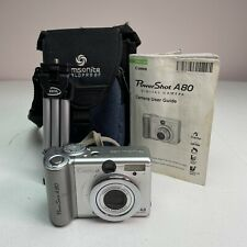 Canon PowerShot A80 4.0mp Digital Camera - Silver w/ Case & Accessories