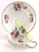 Vintage Foley 1850 Bone China Tea Cup Saucer Porcelain Floral Set England J634