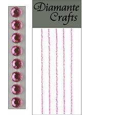 300 x 1mm Light Pink Diamante Self Adhesive Strips Rows Rhinestone Craft Gems