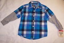 NWT Infant Boys OSHKOSH LS Button down Shirt 6m Blue teal Plaid Casual New $24