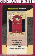 TESSERA FILATELICA FRANCOBOLLO CELEBRATIVO EUROPA LA LETTERA 2008 M25