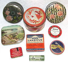 ANTIQUE LOT 9 TIN COLLECTIBLES MEDICAL HOPE LAXATIVES DOANS PILLS TRAVEL DECO