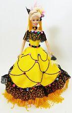OOAK Barbie Doll Black Lace Yellow Rhinestone Dress