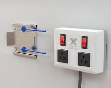 Wall-Mount Extension Cord, Individual Circuit Breakers, Power Surge (White)