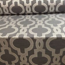 Aspen Silver  Granite Grey Faux Silk Jacquard Curtain/Craft/Upholstery Fabric
