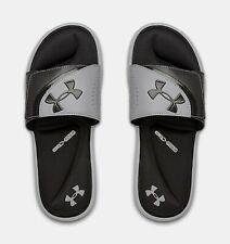 Under Armour Men's UA Ignite VI Slide Sandals - Black/Steel 3022711-002 NWT
