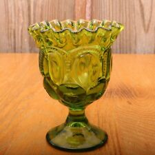 Vintage L.E. Smith Green Moon and Stars Compote Ruffled Edge Footed Bowl Candy