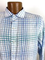 Tommy Bahama Shadow Plaid Linen Shirt Men's Medium White Blue Long Sleeve Button