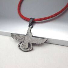 Black Ahura Mazda Persian God Zorasterians Pendant Red Braided Leather Necklace