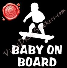 "5.5"" X 7"" BABY ON BOARD Vinyl Decal Stickers Cool Funny Skateboard Awesome"