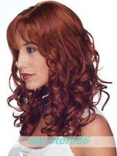 100% Human Hair Fashion Beautiful Red-brown Long Long Wavy Full Women Wig