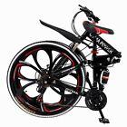 26'' Folding Mountain Bike Shimanos 21 Speed Bicycle Full Suspension MTB Bikes