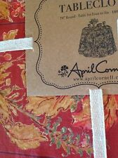 APRIL CORNELL TABLECLOTH RED GREEN GOLD BLACK 70INCH ROUND NWT