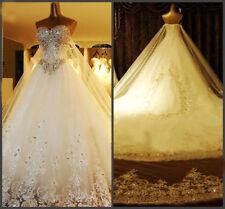 Custom Luxury Sweetheart Swarovski crystals cathedral wedding bridal dress gown