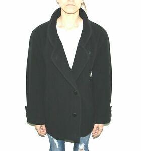 Women's Vintage Hips Length Black 100% Wool Oversized Coat Jacket Size L XL