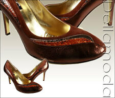 New $420 Dolce & Gabbana Womens Shoes Brown Leather Suede Pumps 100% Authentic