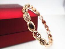 18k 18ct Yellow Gold Rococo Lab Created Diamond Women Men Bangle Bracelet 58mm